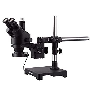 Image of AmScope 3.5X-180X Black Trinocular Stereo Zoom Microscope on Single Arm Boom Stand + 144 LED Compact Ring-Light