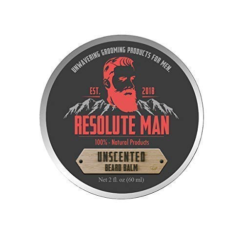 Beard Balm by Resolute Man, Unscented, Premium Styling Balm, Medium to Strong Hold, Strengthens, Conditions and Increases Beard Health, Natural and Organic, Large 2oz. Tin with Screw Top Lid.