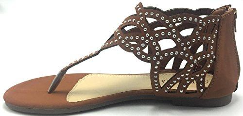 Vrouwen T Riem Strass Feestkleding Gladiator Romeinse Platte Sandalen Schoenen Tan-03