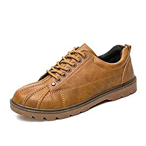 Xiang Ye Skate Sneaker for Men Shell Shoes Lace up Round Toe Synthetic Leather Breathable Exquisite Sweing Lightweight Anti-Slip (Color : Brown, Size : 6 UK)