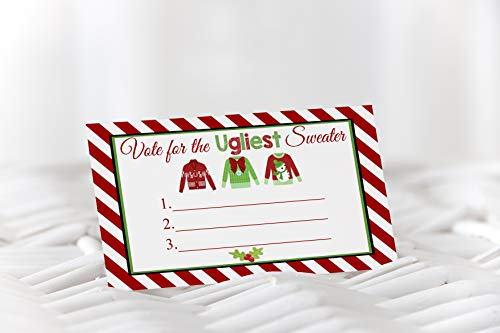 Ugly Sweater Party Supplies, Ugly Sweater Voting Cards, Ugly Sweater Party, Holiday Party, Sweater Party, Christmas Party, 25 Cards