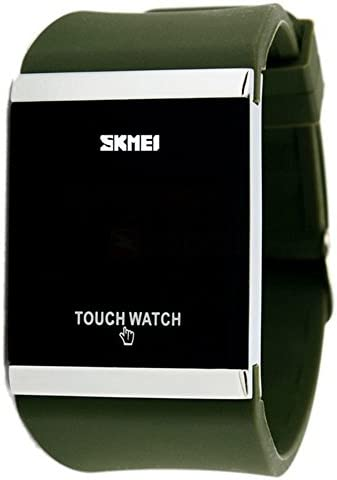 Simple Design Square Dial Rubber-Silicone Band Digital Touch LED Screen Wrist Watch