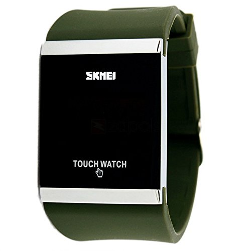 Simple Design Square Dial Rubber-Silicone Band Digital Touch LED Screen Wrist Watch for Men, Woman and Teens - Green (Watches For Men Touch)
