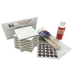 Coaster Tile Craft Kit, PREMIUM Bundle Set includes 12 Ceramic White Tiles 4x4, Mod Podge Gloss Glue Sealer, Foam Sponge Brushes, Felt Adhesive Pads and Detailed Instructions, Make Your Own Coasters!