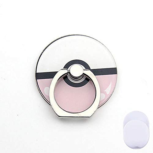 ZOEAST(TM) Phone Ring Grip Pokemon Pocket Monster Pet Pokeball Universal 360° Adjustable Holder Case Stand Stent Mount Kickstand Compatible All iPhones Samsung Galaxy Android Pad Tablet (Ball Pink) -