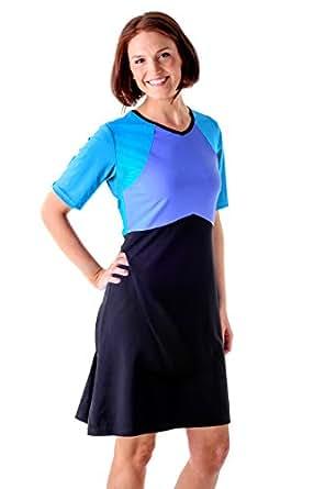HydroChic Women's Modest Short Sleeve Swim Dress, UV