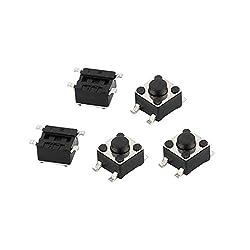 uxcell 5Pcs 4 Pin Square 4.5mmx4.5mmx3.8mm Self-Locking DPDT Mini Push Button Switch