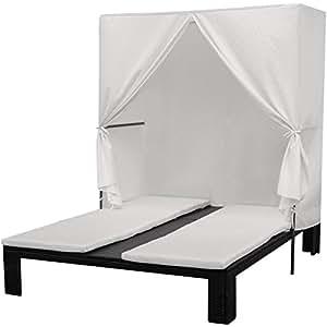 Rattan Wicker Double Chaise Sun Lounger w/ Canopy, Patio Furniture, Black