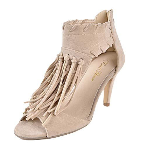 (FengGa Women's Fashion Tassel High Heel Stiletto Fish Mouth Zipper Casual Shoes Suede Stiletto Suede High Boots Beige)