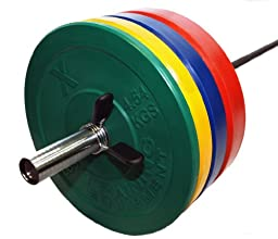 York Barbell - 45lb Color Bumper Plate Solid Rubber with Steel Insert - Great for Crossfit Workouts - (1 X 45 lb Pound Plate)