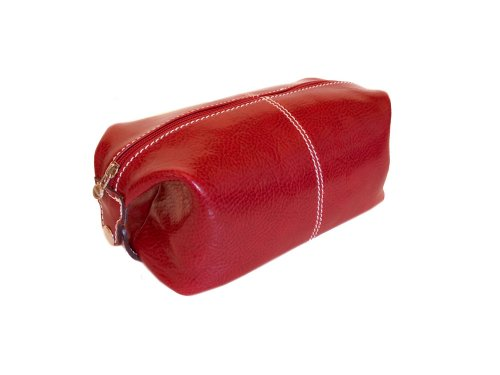 Floto Red Leather Travel Dob (or Dopp) Kit by Floto