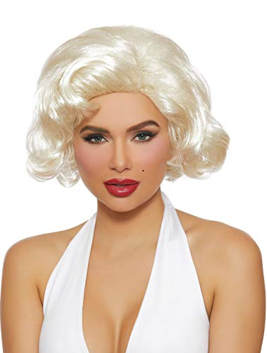 Dreamgirl Women's Retro Movie Star Wig, Platinum Blonde One -