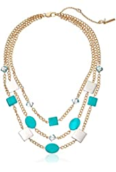 "Kenneth Cole New York Mixed Blue Shell Bead Multi-Row Necklace, 16"" + 3"" Extender"
