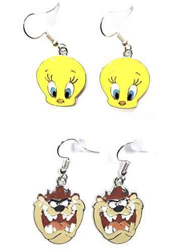 (2 Pairs of Looney Tunes Tasmanian Devil Taz Tweety Bird Charm Cartoon Character Dangle Hook Earrings W/Gift Box)