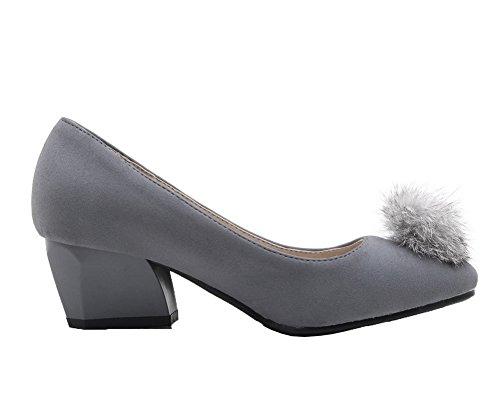 Allhqfashion Kvinners Rund-tå Pull-on Pu Faste Kitten-hæler Pumper-sko Grå