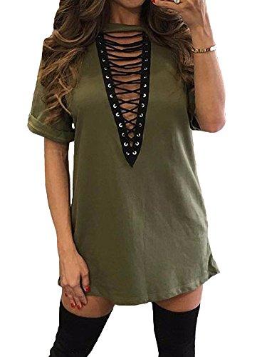 TOB Women's Sexy Halter Lace up T Shirt Mini Club Dress  ,Olive,XX-Large