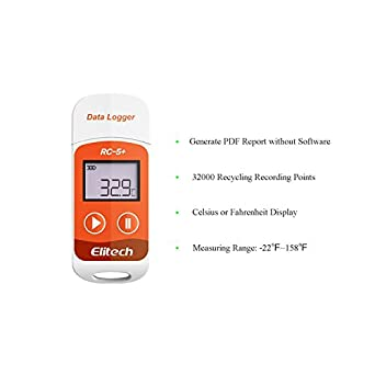 Elitech Upgraded RC-5+ USB Temperature Data Logger Recorder IP67 Waterproof Thermometer - Support the Encrypted Export of Data: Amazon.com: Industrial & ...