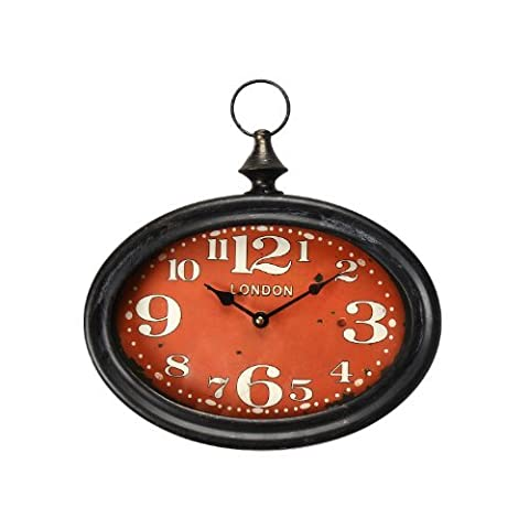 Adeco Black Iron Vintage-Inspired Retro Pocket Watch Style Wall Hanging Clock Large Numbers Red Face Home (Vintage Style Pocket Watch)