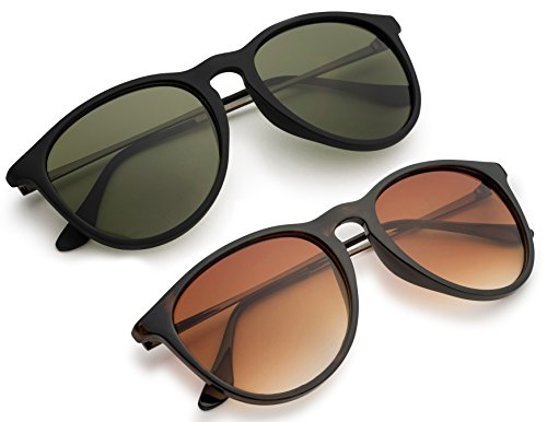 Matte Black Frame Green Lenses - Matte Black Frame with Green Lens/Shiny Havana Frame with Brown Lens