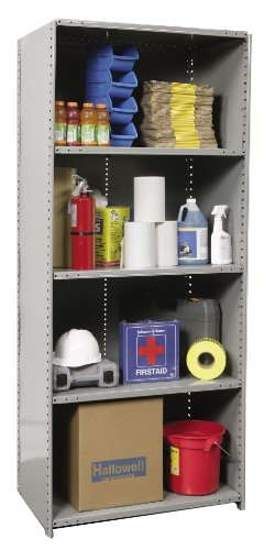 Hallowell 5520-18HG Heavy-Duty Closed Hi-Tech Shelving Starter Unit with 5 Adjustable Shelves, Hallowell Gray Steel, 36