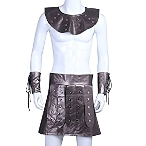 Freebily Men Roman Gladiator Greek Costume Bulldog Outfits Cosplay Fancy Dress Coffee X-Large