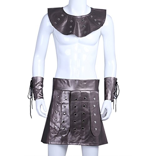 YiZYiF Men's Gladiator Costume Cosplay Outfit Large