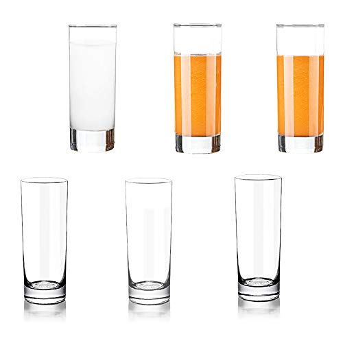 (Lhx Transparent Base High Pole Bar Glass, Drinking Glasses Straight Cup For Water, Juice, Beer, And Cocktail, 5 inches Tall (Set of 6) (Small))