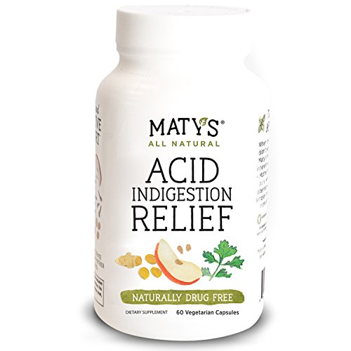 Maty's All Natural Acid Indigestion Relief Capsules, 60 ct, All Natural, Healthy Ingredients to Ease Symptoms of Acid Indigestion Heartburn GERD and Acid Reflux, Promotes Healthy Stomach Acid Levels - Acid Natural