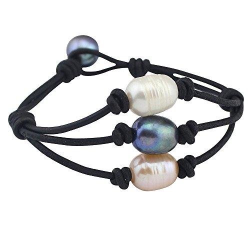 Women's Cultured Freshwater Pearl Bracelet on Genuine Leather Cord Custom Jewelry ()