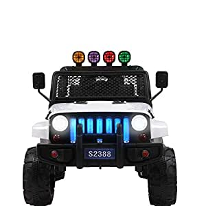 Uenjoy Kids Ride on Cars Remote Control Electric Motorized Vehicles W/ Spring Suspension, Music& Story Playing, Colorful Lights, Sunshine Model, White
