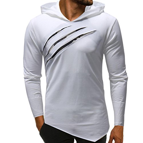 Price comparison product image Easytoy Men's Long Sleeve Hoodies Hooded Sweatshirts Tee T-Shirt Cotton V Neck Tops (White,  XXL)