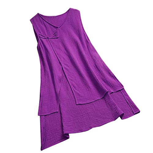 LUCA Womens Vintage Blouse Casual Long Shirt Top T-Shirts Plus Size(Purple 11,L3) ()