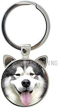 ALASKAN MALAMUTE Dog Pewter KEYCHAIN Key Chain Ring