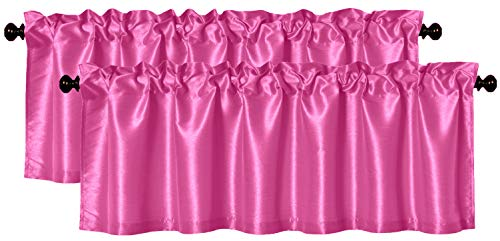 Aiking Home (Pack of 2) Solid Faux Silk Window Valance, 56 by 16 Inches, Hot Pink ()