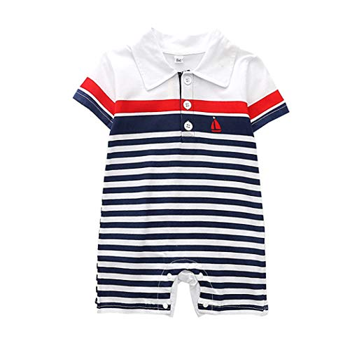 AIKSSOO Toddler Baby Boys Outfit Short Sleeve Polo Shirt Sailor Style Strip Romper Size 80(6-12M) (White)