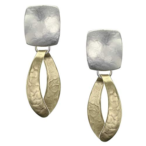 Marjorie Baer Rounded Rectangle with Wide Loop Clip on Earring in Brass and Silver