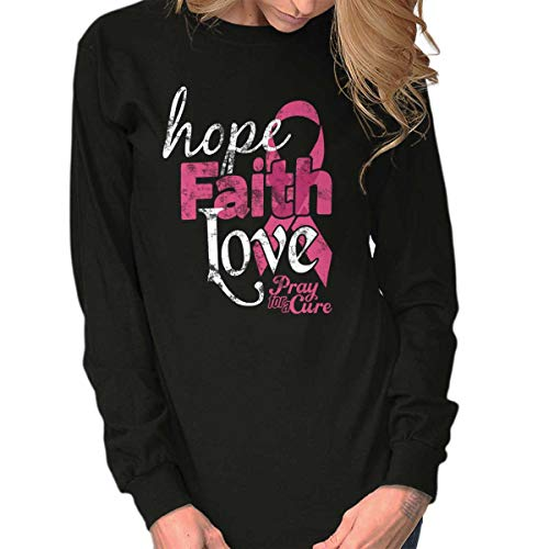 Hope Faith Love Breast Cancer Awareness Long Sleeve T Shirt Black