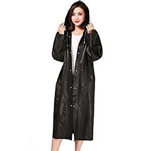 Luckyiren Unisex Raincoat Rain Poncho Jacket Slicker Outwear with Hoods and Sleeves for Adults [Thicker & Reusable & Lightweight] Emergency Rain&Wind Coat Cloak Wear for Man Women, for Best Friend, womens unisex-adult, RP-BK-AD-1, Black, Large