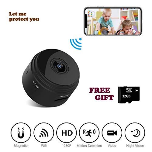 Wireless Hidden spy Camera Mini WiFi Nanny cam for Home Security, 1080P, 32GB Storage, Night Vision, Motion Sensing Video IP cam. App Supports iOS & Android by ()