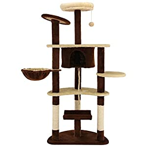 """Ollieroo 60"""" H Cat Tree Furniture Tower Climbling Activity Tree Scratcher Play House Condo Hammock with Scratching Post and Toys Brown"""