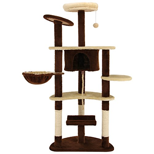 Ollieroo 60' H Cat Tree Furniture Tower Climbling Activity Tree Scratcher Play House Condo Hammock with Scratching Post and Toys Brown