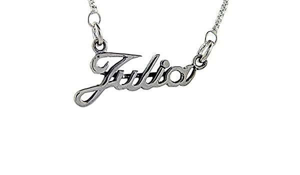17 Inches Long Sterling Silver Name Necklace Julia 3//8 Inch
