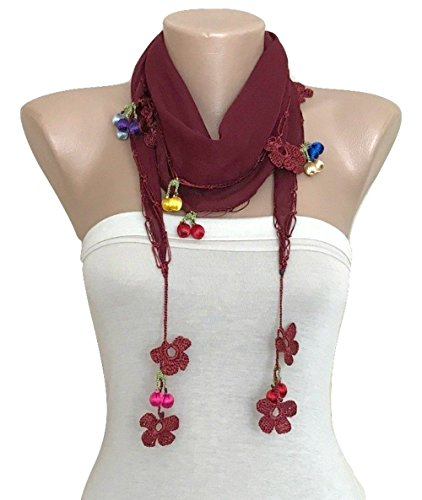 Hand Crocheted Scarf (Maroon Summer Scarf Hand Crocheted Lace Edge)