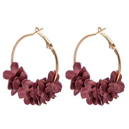 So Beautiful Earing For Women Men Fashion Fabric Flower Drop Earrings For Women 2019 Colorful Petal Circle Big Fancy Earring Jewelry,Red Flowers
