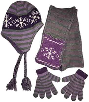 0c7e477d7c4277 Girls Purple & Gray Snowflake Peruvian Winter Beanie Trapper Hat Scarf Glove