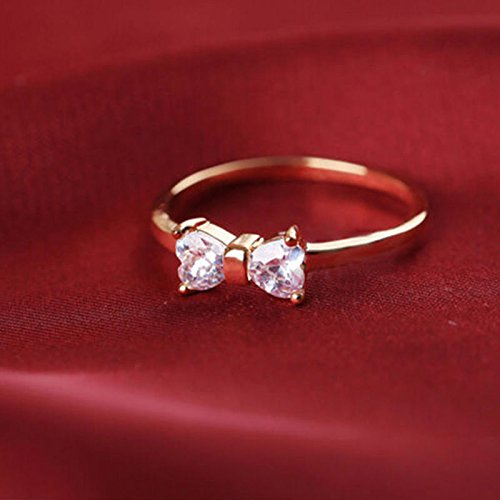 patcharin shop Elegant Woman Delicate Fashion 18K Gold Plated Finger Bow Charming Rings -