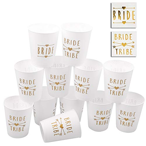 Bride and Bride Tribe Party Cups, POAO Bachelorette Party Cups for Weddings Bridal Showers and Engagements (16oz / 12pack) -