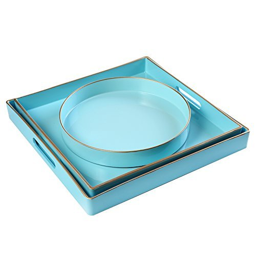 CC Wonderland Serving Tray Table (Set of 3) , Squares, Sea Blue, 2 squares and 1 small circle, Turquoise, Ottoman