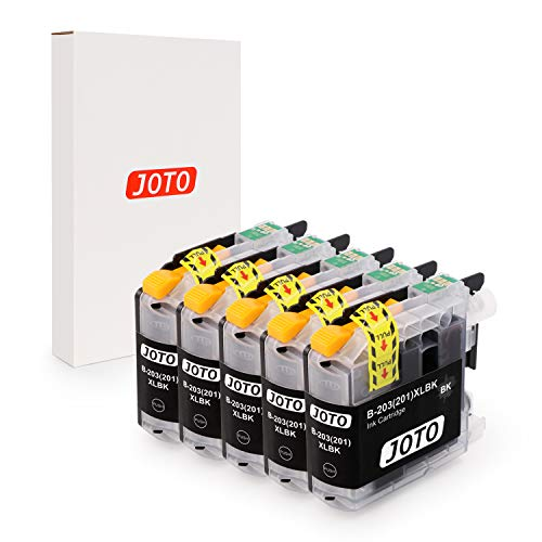 JOTO Compatible Ink Cartridge Replacement for Brother LC203XL LC203 XL LC201 MFC-J480DW MFC-J885DW MFC-J485DW MFC-J880DW MFC-J680DW MFC-J4420DW MFC-J4620DW (Black, 5 Pack, High Yield)