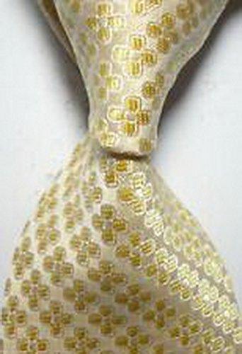 MINDoNG Necktie Pattern Beige Dots Flower JACQUARD WOVEN Men's Tie GAG # 33292